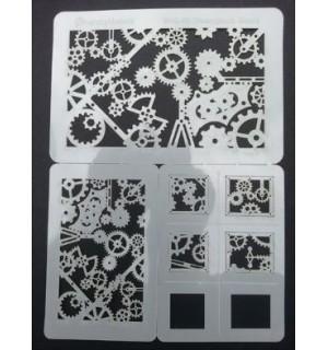 Steampunk gears stencil